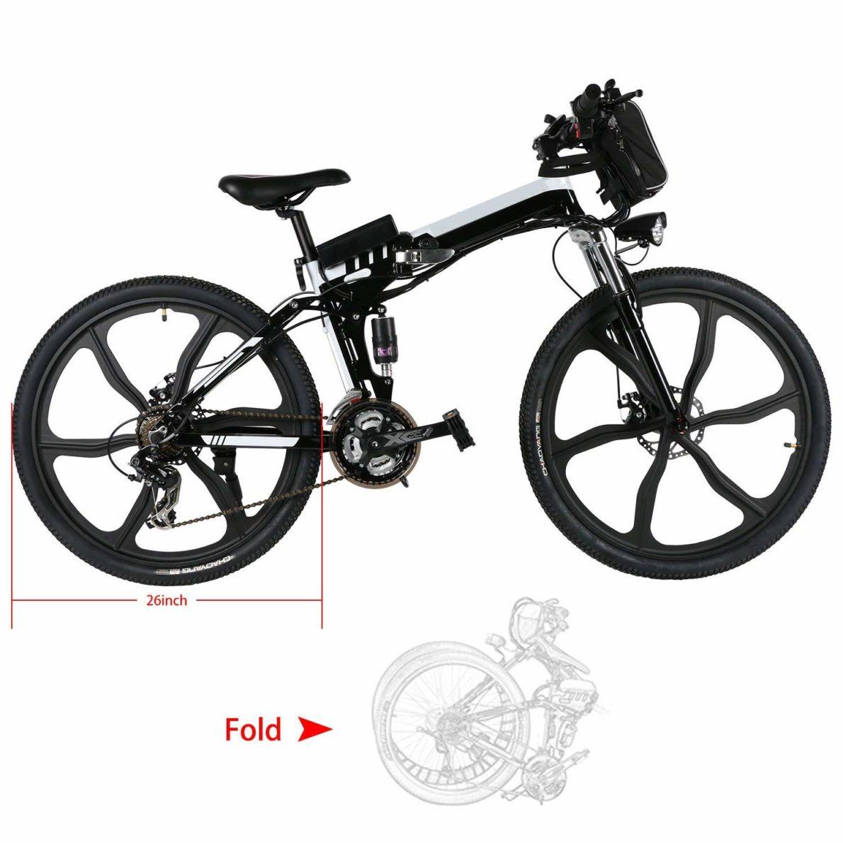 Miageek 26inch Folding E Bike Electric Mountain Bike with Large Capacity Lithium-Ion Battery