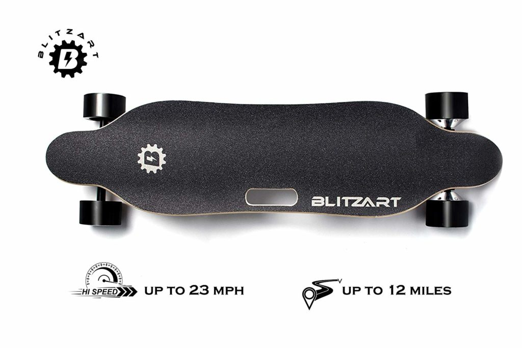 "BLITZART Tornado 38"" Dual Hub-Motor 700W Electric Skateboard Longboard 3.5"" PU Wheels (Black)"