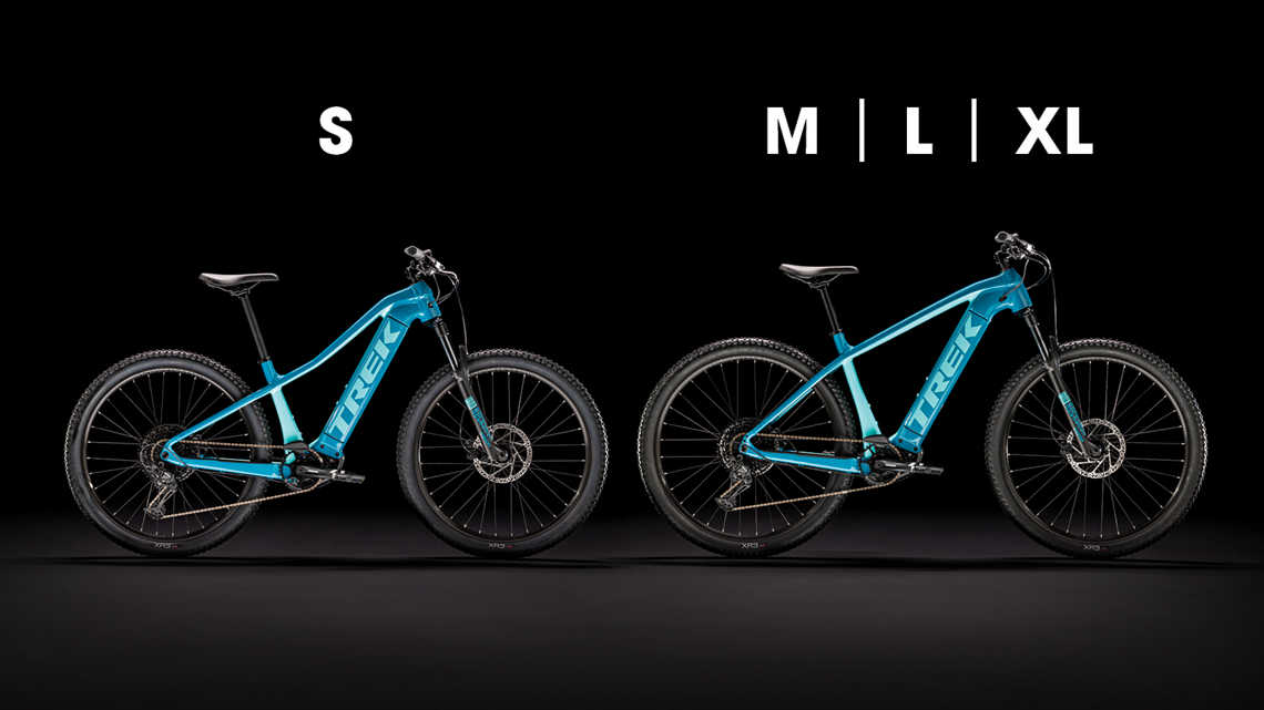 Two Powerfly blue bikes of different sizes