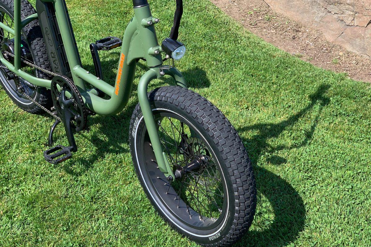 Front wheel of the green RadRunner bike