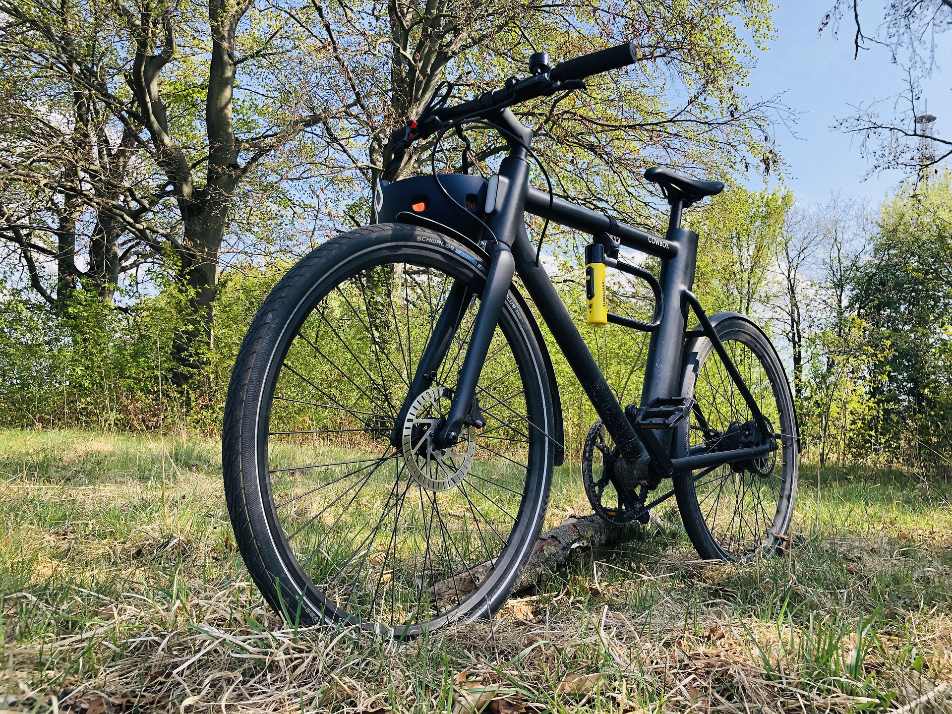 Electric bike standing on a  grass