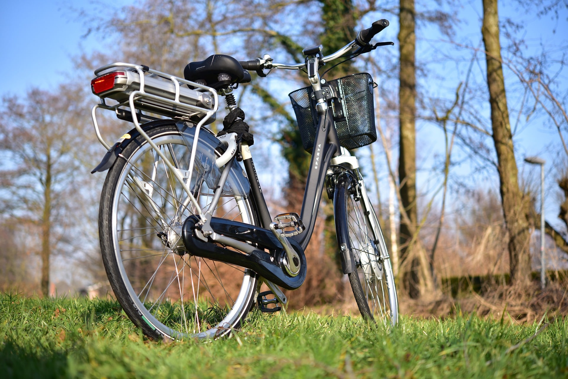Electric bike standing in a park