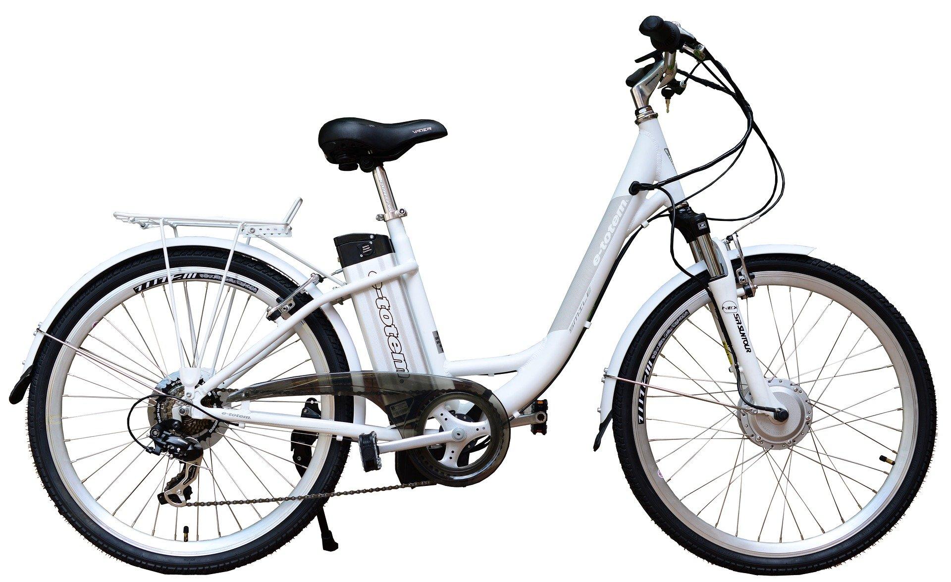 White E-bike on the white background