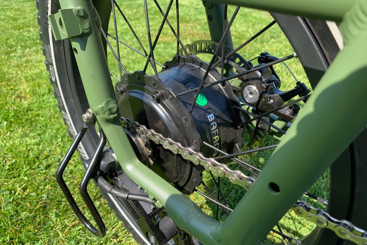 Bicycle gear of a green bike