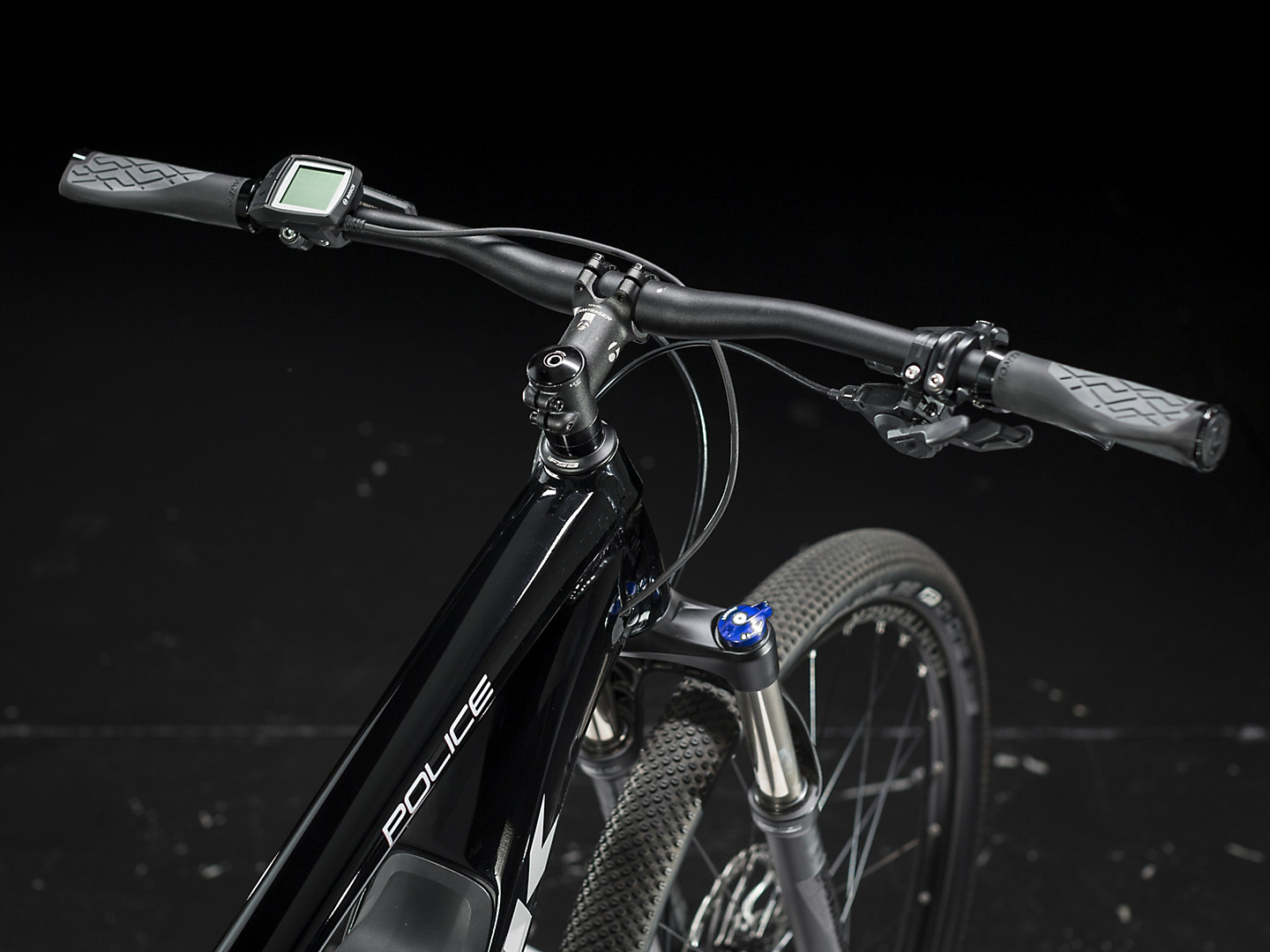Bicycle handlebar in the black background