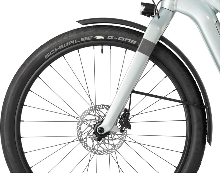 The front wheel of the bike
