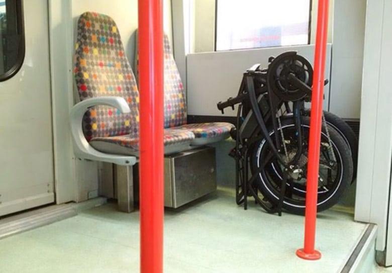 Electric foling bike in the underground