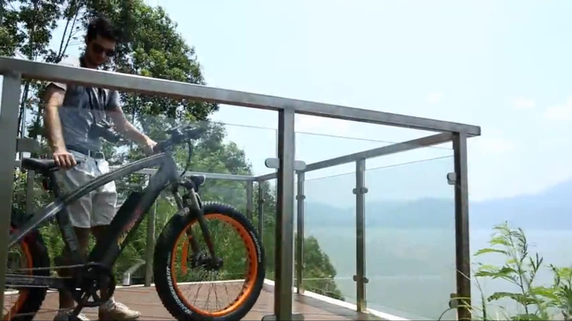 Man holding the fat tire bike
