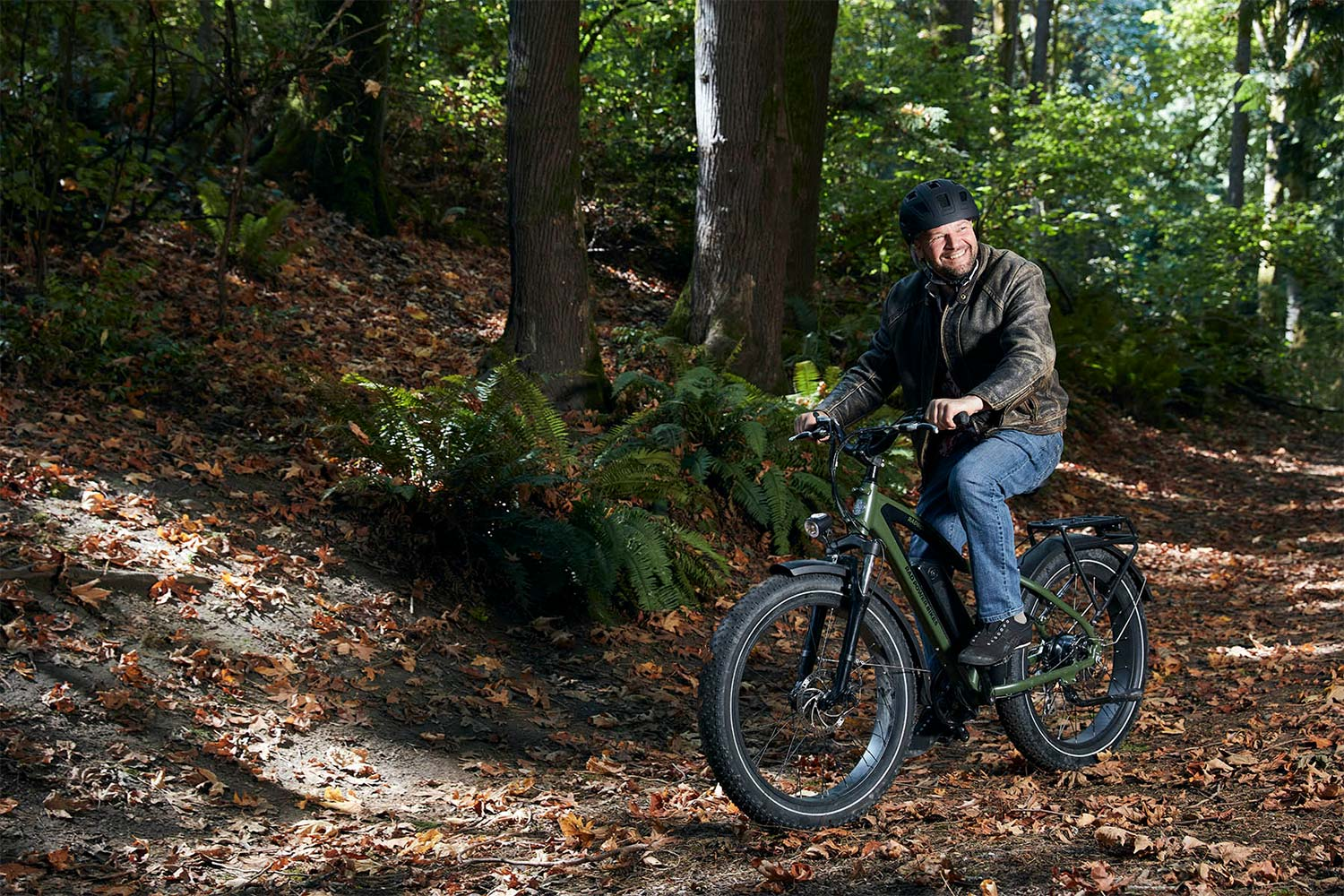 Riding the fat tire bike in forest