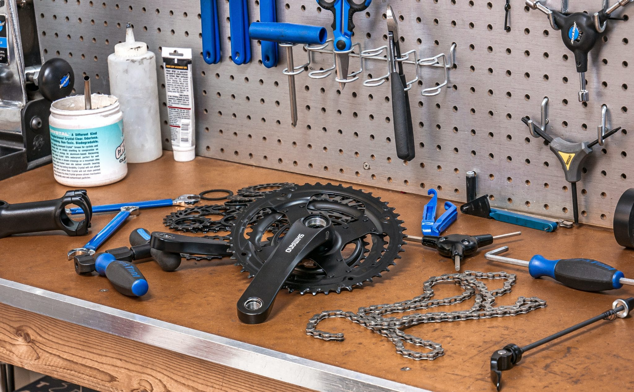 Work Bench with Bicycle Tools and Parts in Color